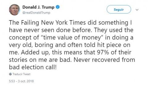 Arremete Trump contra The New York Times tras acusación de fraude