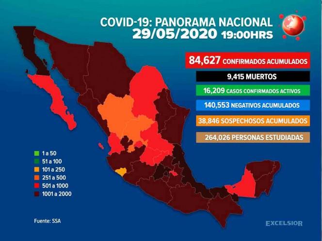 Lasmuertesrelacionadas al Covid-19 en México incrementaron a 9,415.