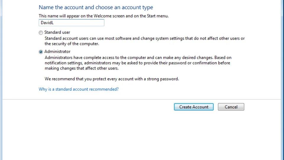Windows 7 Create New User Account