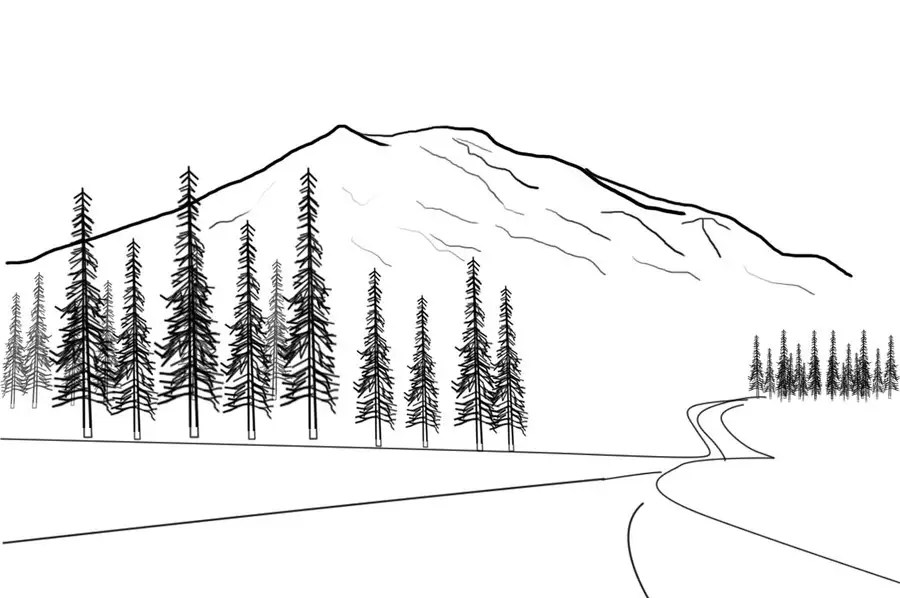 Illustrate a very simple line-drawing of a mountain