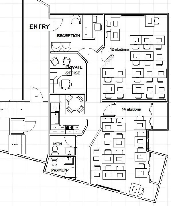 Entry #6 by ronaaron2 for Training office layout design