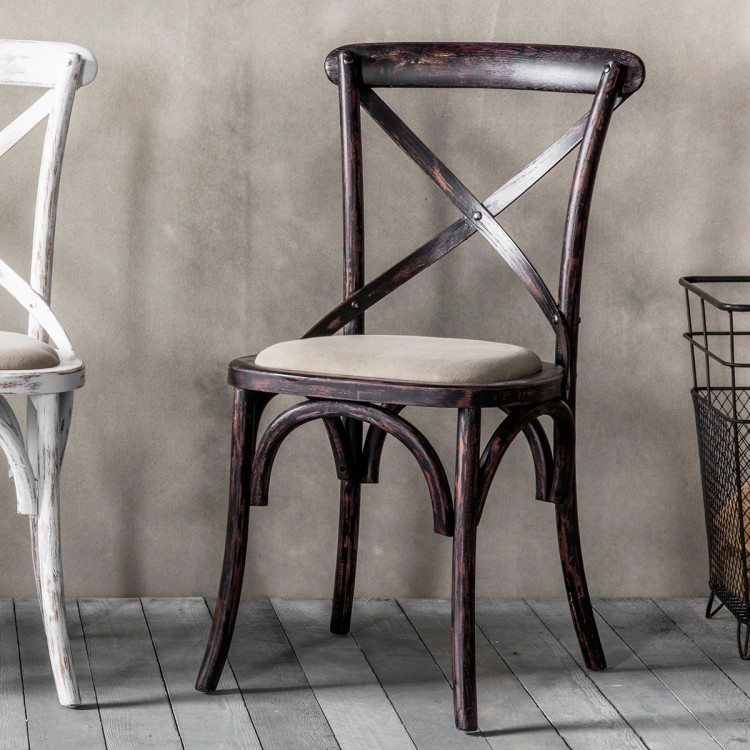 black cross back dining chairs small barrel cafe chair bentwood with upholstered seat distressed finish