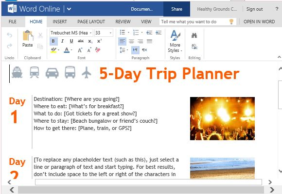 trip itinerary template word