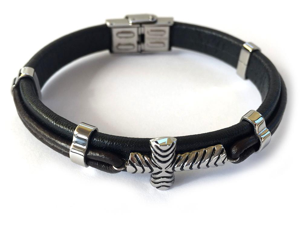 Brar Borealy Black Leather  Silver Accents