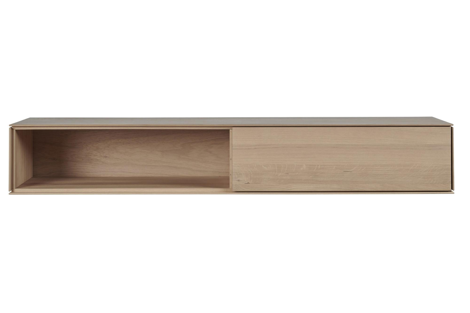 meuble tv suspendu en bois avec un tiroir et une niche hellin