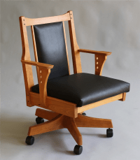 handmade office desk chair|custom wood furniture|leather chair