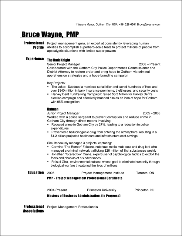 resume samples in canada