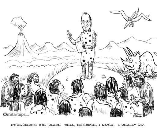 Prehistoric Steve Jobs Introduces The New Apple iRock
