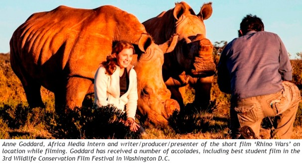 Anne Goddard whilst filming Rhino Wars