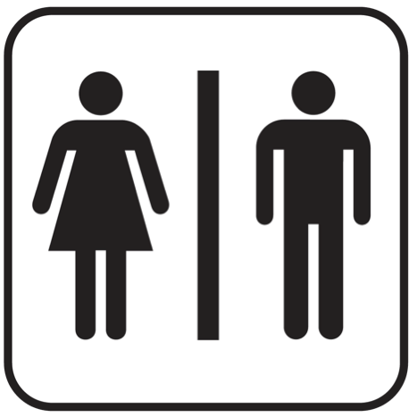 Male Female universal pictograph restroom