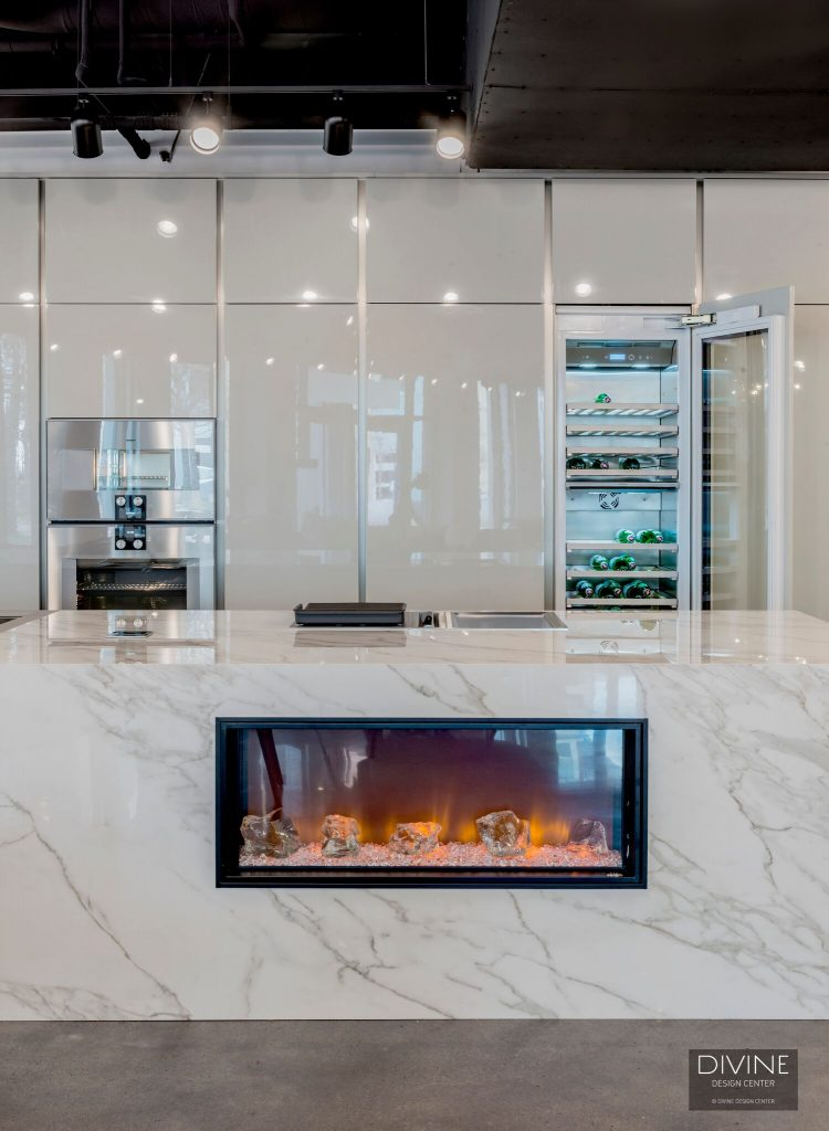A unique fireplace in a kitchen island