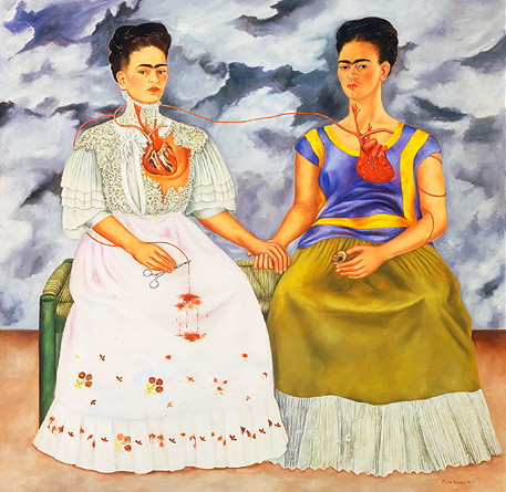 """Frida Kahlo. The Two Fridas, 1939. Oil on canvas, 5'9"""" x 5'9"""". Museum of Modern Art, Mexico City."""