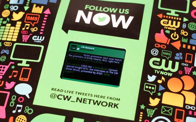 Interactive print advertisement by CW Network with LCD screen in issue of Entertainment Weekly