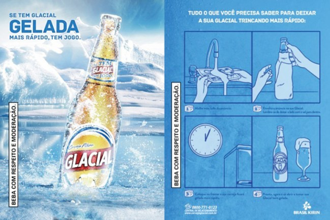 Interactive print advertisement by Glacial with instructions on how to chill beer