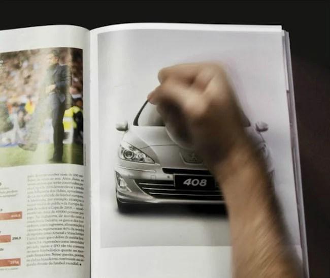 Interactive print advertisement by Peugot car brand