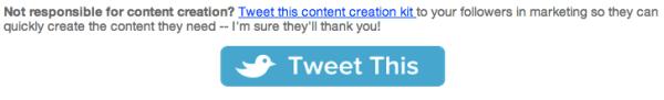 Premade tweet copy example
