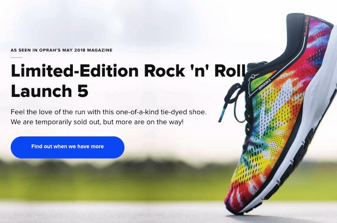 Brooks Running shoe product availability CTA