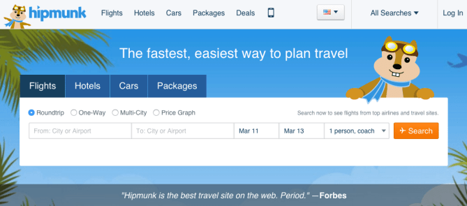 Hipmunk flights and hotel bookings CTA form