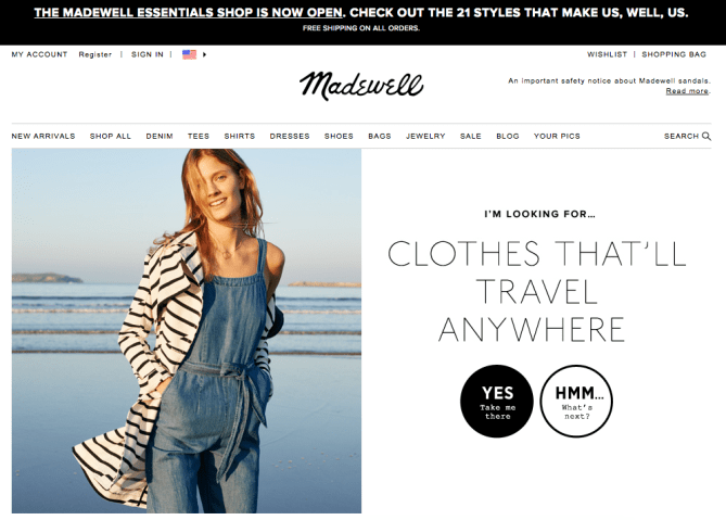 Madewell clothes shopping call to action buttons