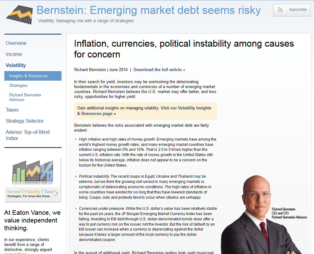 Bernstein Emerging Market Debt Seems Risky