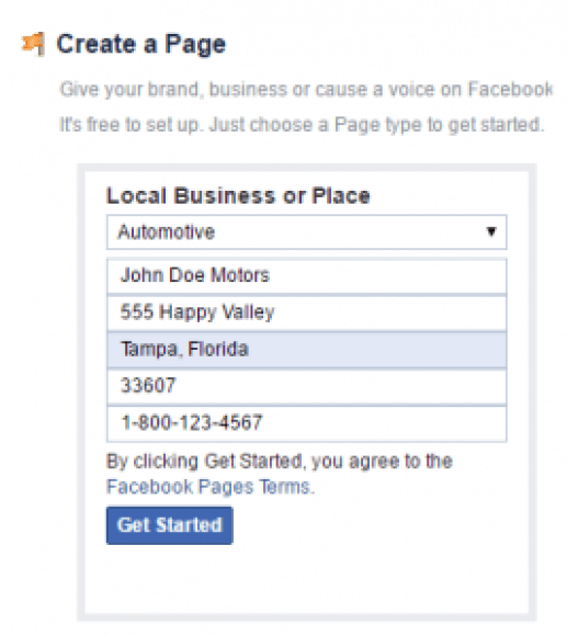 Facebook Local Business of Place signup