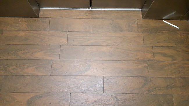 grout joint offsets and wood plank tile