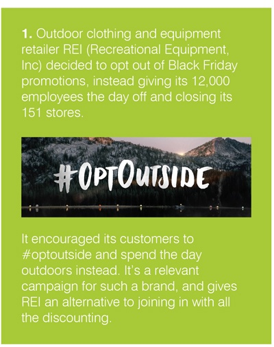 REI (Recreational Equipment, Inc) decided to opt out of Black Friday promotions, instead giving its 12,000 employees the day off and closing its 151 stores.