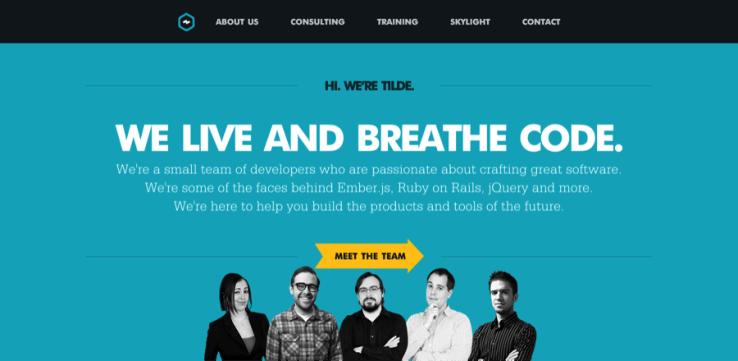 Tilde website with well-designed headings