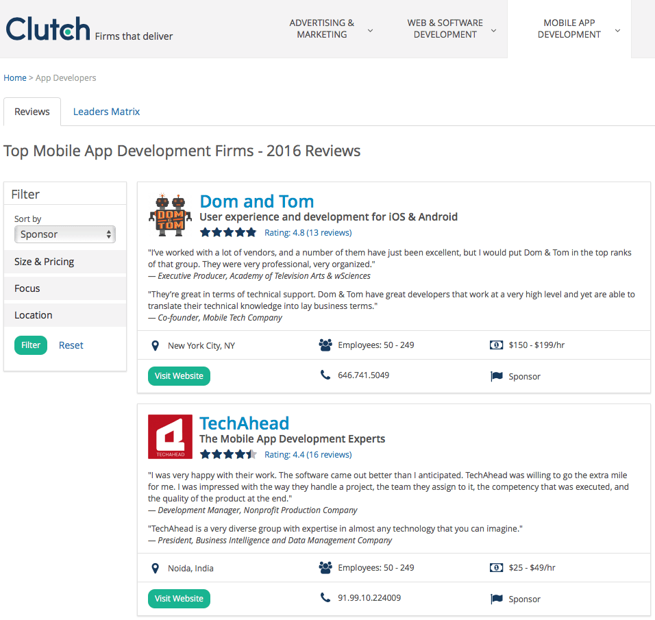 Clutch sponsored results