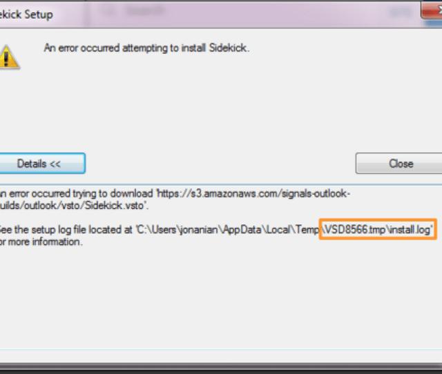 Hubspot Sales For Outlook Install Error An Error Occurred Attempting To Install Hubspot Sales In Outlook