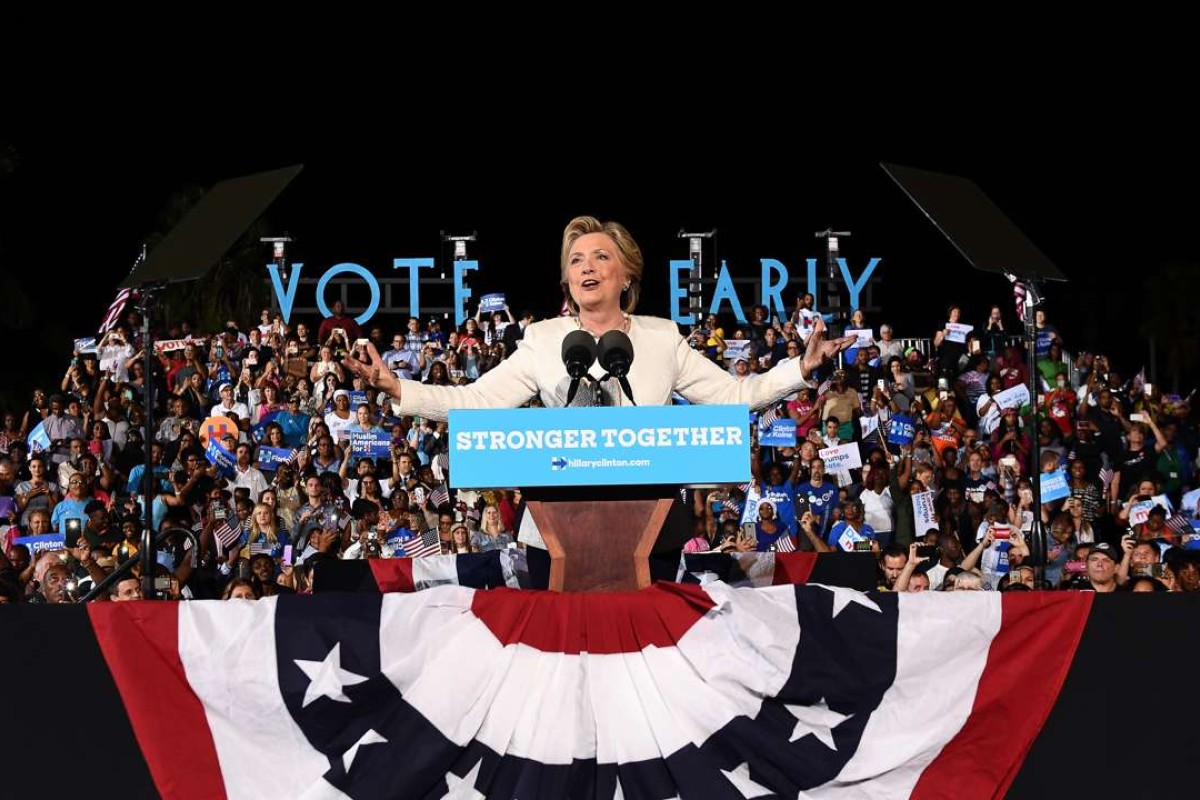 US Democratic presidential nominee Hillary Clinton speaks during a campaign rally in Fort Lauderdale, Florida. Photo: AFP