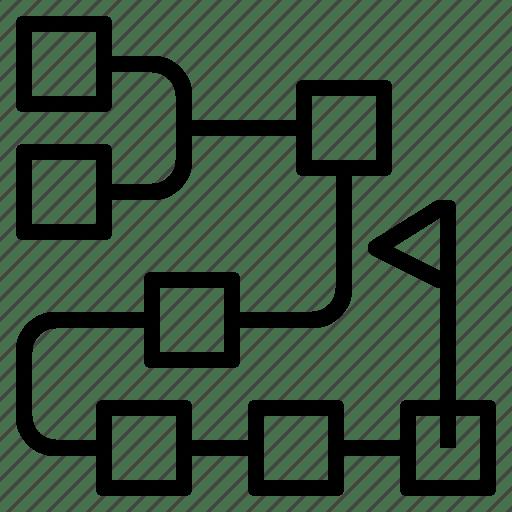 Flowchart, goal, planning, process, timeline, workflow icon