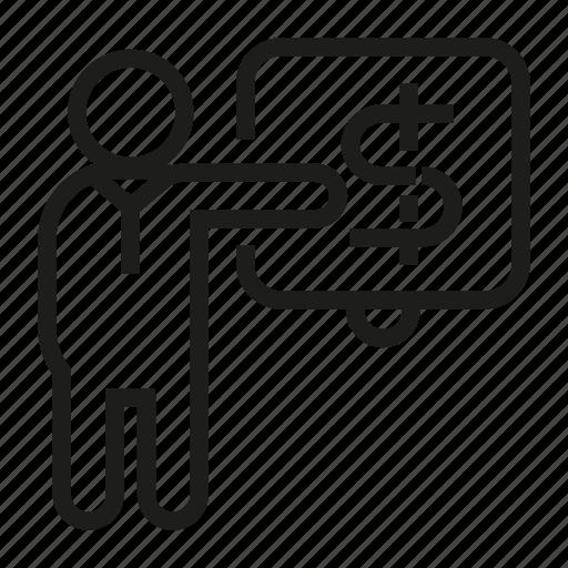 Finance, money, people, presentation icon