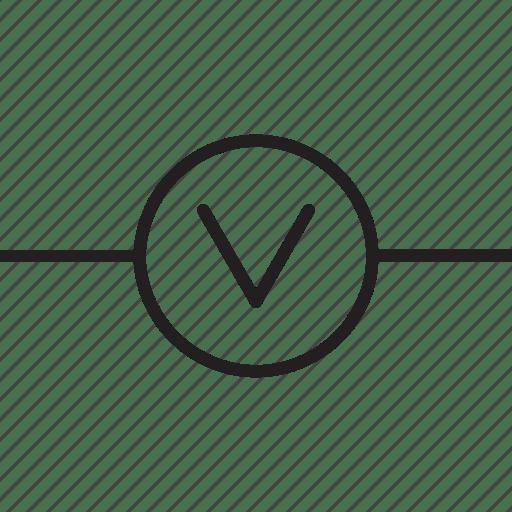 Circuit, circuitry, diagram, science, voltmeter icon
