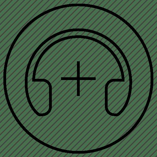 Add, device, headphones, level, music, sound icon