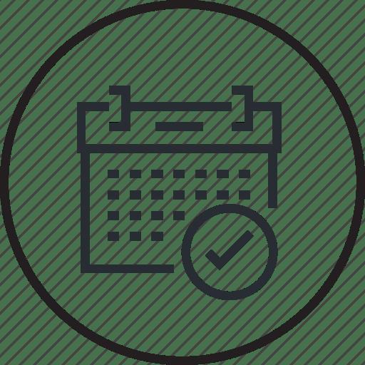 Calendar, classes, education, event, exam, line, schedule icon
