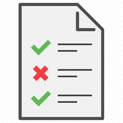 Checklist, document, file, inventory, list, page, report icon