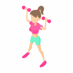 Cartoon dumbbells female fitness girl sport woman icon Download on Iconfinder