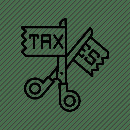 Different, equal, gst, no, scissor, tax icon