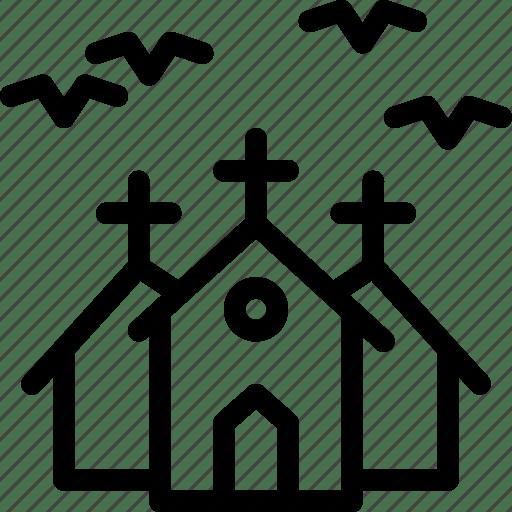 Bats, halloween, haunted, horror, house, mansion, night icon