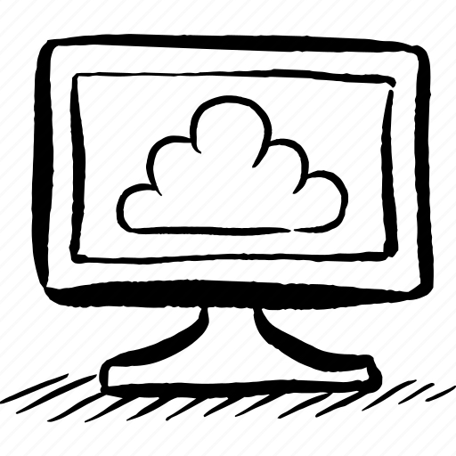 Apple, cloud, computer, hand drawn, imac, pc, screen icon
