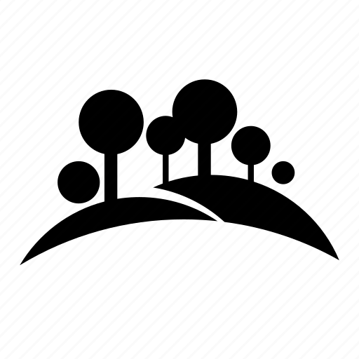 Bush forest land nature silhouette tree icon