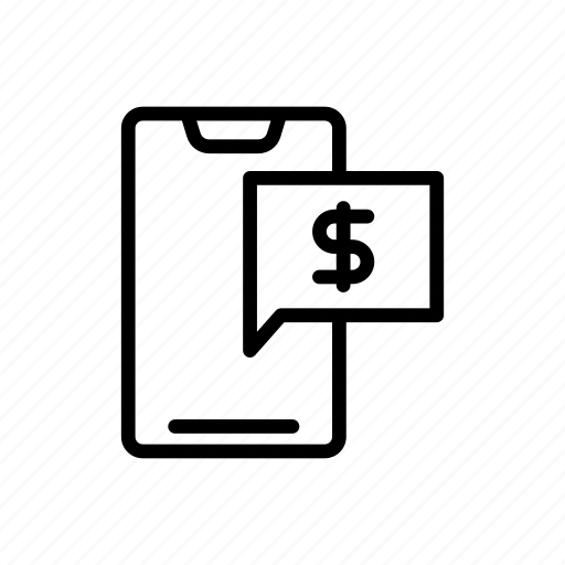 Dollar, message, mobile, notification, pay icon