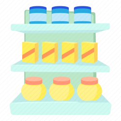 cartoon supermarket stand line shelves icon displaying items editor open