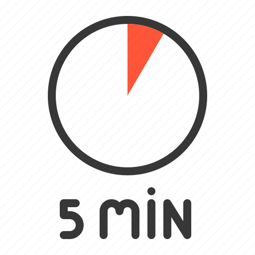 5 min, clock, five, five minutes, minute, timer icon