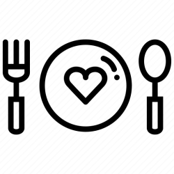 icon food dinner heart valentines date romance pink icons svg outline editor open lineal