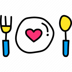 food dinner icon valentines romance date icons doodles 512px