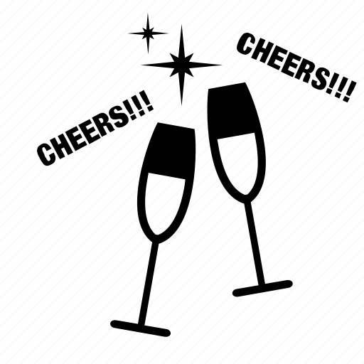 Champagne, cheers, drink, glass, party, toast, wedding icon