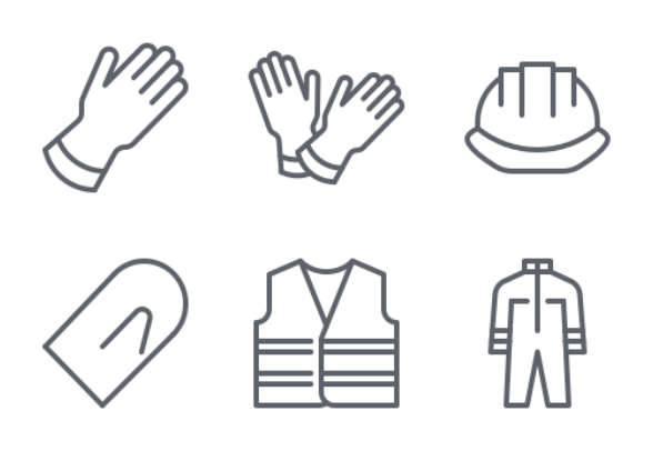 PPE, Safety Equipment icons by Nadiinko