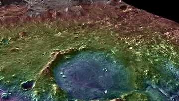 Three-dimensional topographic map of the Yezero crater, obtained from the MRO probe